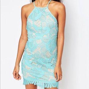 Love Triangle Lace High Neck Mini aqua Dress ASOS